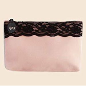 Pink Ipsy bag with black lace